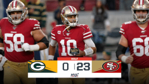 HALFTIME: @49ers lead 23-0 on #SNF.   📺: #GBvsSF on NBC 📱: NFL app // Yahoo Sports app Watch free on mobile: https://t.co/oTTol2dlYz https://t.co/3xvilqueGQ: 5810  68  49ERS  SUNDAY  NIGHT  FOOTBALL  HALF  0 123 HALFTIME: @49ers lead 23-0 on #SNF.   📺: #GBvsSF on NBC 📱: NFL app // Yahoo Sports app Watch free on mobile: https://t.co/oTTol2dlYz https://t.co/3xvilqueGQ