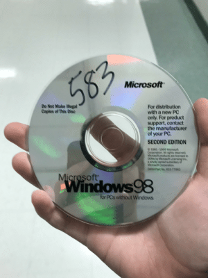 My game design teachers bathroom pass is a Windows 98 installation disk: 583  Microsoft  De Not Make lllegel  Coples of This Disce  For distribution  with a new PC  only. For product  support, contact  the manufacturer  of your PC.  SECOND EDITION  01981-1999 MOYOsoft  Corporation, Al rights reserved  MBot precucts are ioerse to  OENS by Miorosot LAensing hno,  a wholy ouned subsclary of  MOrosot CoporetKA  0499 Pert No. XO3-77962  Microsoft  Windows98  OwS  for PCs without Windows My game design teachers bathroom pass is a Windows 98 installation disk