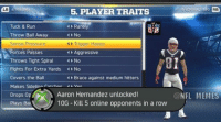 Madden 25 is out! Here is how you unlock Aaron Hernandez!: LB  4 RAT  5. PLAYER TRAITS  Tuck & Run  Rarely  Throw Ball Away  No  4 Trigger Happy  Sense Pressure  Forces Passes  Aggressive  Throws Tight Spira  4 No  Fights For Extra Yards  No  Covers the Ball  Brace against medium hitters  Makes Sideline ratchee Vee  Aaron Hernandez unlocked!  Drops op  10G Kill 5 online opponents in a row  Plays Bal  G CONTRACT INFO RB  @NFL MEMES Madden 25 is out! Here is how you unlock Aaron Hernandez!