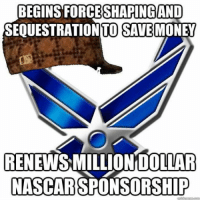 Nascar, Military, and Sequestration: BEGINS SHAPING  AND  SEQUESTRATION TO SAVEMONEY  RENEWSMILLIONDOLLAR  NASCAR SPONSORSHIP No savings