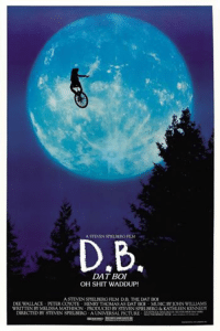 STEVENSPIELBERGFILM  D,B,  DAT BOI  OH SHIT WADDUP!  ASTEVENSPIELBERG FILM D.B. THE DATBOI  DEE WALLACE PETER COYOTE HENRY THOMASAS DAT BOI MUSIC BY OHN WILLIAMS  DIRECTED BY STEVEN SPIELBERG A UNIVERSAL PICTURE God bless This meme