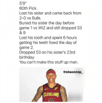 "Birthday, Memes, and Respect: 5'9""  60th Pick.  Lost his sister and came back from  2-0 vs Bulls  Buried his sister the day before  game 1 vs WIZ and still dropped 33  89  Lost his tooth and spent 6 hours  getting his teeth fixed the day of  game 2.  Dropped 53 on his sister's 23rd  birthday.  You can't make this stuff up man.  @nbaontop  CLEVELAND So much respect for Isaiah Thomas. 💯🙏 - Follow @_nbamemes._"