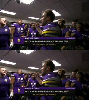 He said it! 😂 https://t.co/u9giaAWwRB: 59  MINNESOTA VIKINGS  LOCKER ROOM  FIRST PLAYOFF WIN ON ROAD SINCE JANUARY 9, 2005  WILL FACE 49ERS IN NFC DIVISIONAL   59  MINNESOTA VIKINGS  LOCKER ROOM  FIRST PLAYOFF WIN ON ROAD SINCE JANUARY 9, 2005  WILL FACE 49ERS IN NFC DIVISIONAL He said it! 😂 https://t.co/u9giaAWwRB