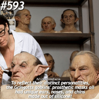 Friends, Memes, and 🤖:  #593  TERFACTSs  To reflect their distinct personalities,  the Gringotts goblins' prosthetic masks all  had unique ears, noses, and chins  made out of silicone! QOTD: Goblins or Centaurs? = Follow @mypotterquotes and @mypotterscenes for more of my posts!✨ = Tag your potterhead friends below!❣️