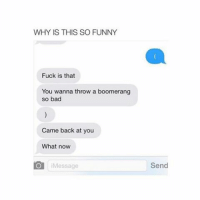 Bad, Fucking, and Funny: WHY IS THIS SO FUNNY  Fuck is that  You wanna throw a boomerang  so bad  Came back at you  What now  Message  Send