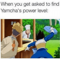 😂😂💀: When you get asked to find  Yamcha's power level: 😂😂💀