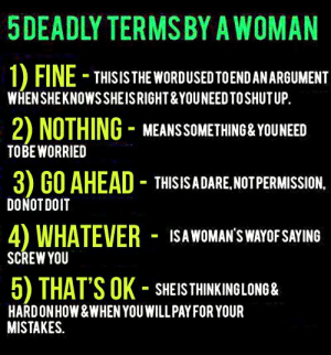 Says woman when fine a What She