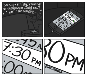 Target, Tumblr, and Alarm: 5m slep rfully,g  ner in the morning... .  hur trust alarm Would Wak  alarm Would Wak vrumblr: 4-panel horror story.