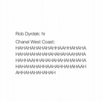 West Coast, Chanel, and Chanel West Coast: Rob Dyrdek: hi  Chanel West Coast  HAHAHAHAHAHAHHAAHHAHAHA  HAHAHAHAHAHAHAHA HAAHAHA  HAHHAAHHAHAHAHAHAHAHAHA  HAHAHAHAHHAAHAHHAHAHAAH  AHHAHAHAHAHAH this made me laugh so hard