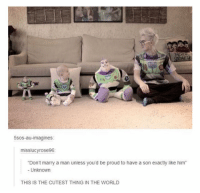 "5sos, World, and Proud: 5sos-au-imagines:  misslucyrose96:  Don't marry a man unless you'd be proud to have a son exactly like him""  - Unknown  THIS IS THE CUTEST THING IN THE WORLD <p>Like father like son</p>"