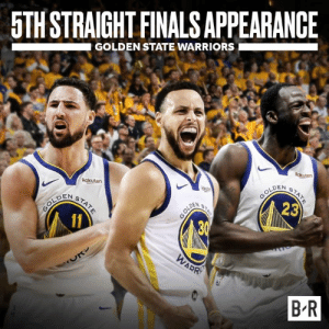 Warriors join the '56-57 Celtics as the only teams in NBA history to make 5 straight finals: 5TH STRAIGHT FINALS APPEARANCE  GOLDEN STATE WARRIORS  Rakuten  LDEN  DEN S  23  B R Warriors join the '56-57 Celtics as the only teams in NBA history to make 5 straight finals