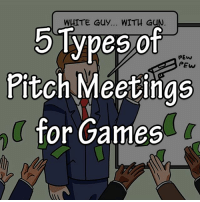Memes, Games, and White: 5Types of  Pitch Meetings  for Games  WHITE Guy... WITH GU  PEw  PEw Swipe to Read The Panels!