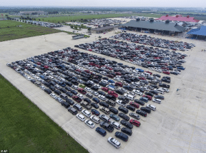 6,000 families lined up in their cars for hours at Traders Plaza (San Antonio) for food distribution: 6,000 families lined up in their cars for hours at Traders Plaza (San Antonio) for food distribution