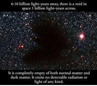 6-10 billion light-years away, there is a void in  space 1 billion light-years across.  It is completely empty of both normal matter and  dark matter. It emits no detectable radiation or  light of any kind. <p>Mysterious Void In Space.</p>