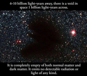 Tumblr, Blog, and Http: 6-10 billion light-years away, there is a void in  space 1 billion light-years across.  It is completely empty of both normal matter and  dark matter. It emits no detectable radiation or  light of any kind. srsfunny:Mysterious Void In Space