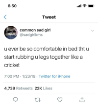 Comfortable, Iphone, and Twitter: 6:50  Tweet  common sad girl  @sadgirlkms  u ever be so comfortable in bed tht u  start rubbing u legs together like a  cricket  7:00 PM - 1/23/19 Twitter for iPhone  4,739 Retweets 22K Likes Just call me jiminy
