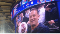 Tom Hanks and Wilson at an Ice Hockey game last night...: 6:55  36 MILL  9 swors  FACEOFFS HITS Tom Hanks and Wilson at an Ice Hockey game last night...