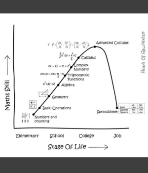 Stages of life Vs Mathematics skill: 6 Calculus  Complex  Numbers  (X + 4)1+  :  cos (Z) = sin (T-Z) /Trignometric  Functions  Cl  Geometry  Basic Operations  Numbers and  ales  1424 2,531  Spreadsheet Daianc 392.0  Balance512,831  1 23 Ccounting  Elementary School  College  Job  Stage Of Life> Stages of life Vs Mathematics skill