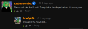 Donald Trump, Shit, and Black: 6 days ago  xxghunremixx  The mom looks like Donald Trump in the face hope I ruined it for everyone  Reply  7  boofy404 O 3 days ago  e shit waddps  Orange is the new black...  SRLURNE RO  Reply  0 I hope i ruined it for everyone