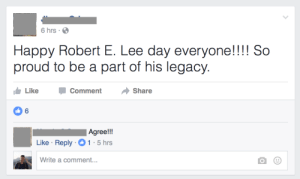 memehumor:  What holiday is it again?: 6 hrs  Happy Robert E. Lee day everyone!!!! So  proud to be a part of his legacy  Like  Comment  Share  6  Agree!!  Like Reply 1 5hrs  Write a comment... memehumor:  What holiday is it again?