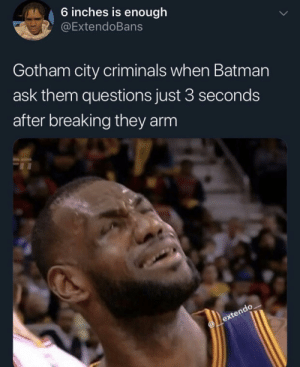 Chill Bruce (via /r/BlackPeopleTwitter): 6 inches is enough  @ExtendoBans  Gotham city criminals when Batman  ask them questions just 3 seconds  after breaking they arm Chill Bruce (via /r/BlackPeopleTwitter)