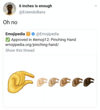 Approved, Org, and Show: 6 inches is enough  @ExtendoBans  Oh no  Emojipedia@Emojipedia  Approved in #emojil 2: Pinching Hand  emojipedia.org/pinching-hand/  Show this thread Uh oh.. 😂💀 https://t.co/N7okU45A4P
