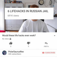 Jail, Life, and Memes: 6 LIFEHACKS IN RUSSIAN JAIL  691K views  Would these life hacks even work?  No views a  Add to  PolarSaurusRex  34K subscribers  SUBSCRIBE My new vid is up.. Link in my bio if you want to watch or type in my channel: PolarSaurusRex. Thanks for all the support 😄 (i personally don't think none of them would work but idk shit about jail so you be the judge)