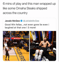 Basketball, Nba, and Sports: 6 mins of play and this man wrapped up  like some Omaha Steaks shipped  across the country  Javale McGee @JaValeMcGee  Good Win fellas...not even gone lie even i  laughed at that one ! 3 more!  UnBa.co  State Farm Gotta do what you gotta do 😂 nbamemes nba warriors nbafinals (Via ‪TheRockwell‬-Twitter)