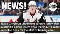 We wish you a quick recovery, @jakobchychrun ! The Coyotes will update his status at training camp. Chychrun Coyotes Arizona NHLDiscussion: 6  NEWS!  NHL  OISCUSSION  GNHL DISCUSSION  20  Jakob Chychrun underwent surgery today after  sustaining a knee injury while training. He is not  expected back for the start of training camp We wish you a quick recovery, @jakobchychrun ! The Coyotes will update his status at training camp. Chychrun Coyotes Arizona NHLDiscussion