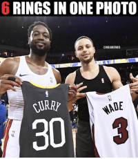 Nba, One, and Photo: 6 RINGS IN ONE PHOTO  @NBAMEMES  ADE  30j So much greatness in one pic.
