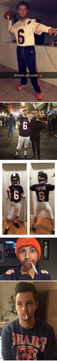 """<p>Some of our favorite Smokin&rsquo; Jay costumes this year from around the web (from top to bottom):</p> <p>1. Fan submission via Michael F.</p> <p>2. Fan submission via Ryan</p> <p>3. via <a href=""""https://twitter.com/patrickklepek/status/528373513913397248/photo/1"""" target=""""_blank"""">@patrickklepek</a></p> <p>4. <a href=""""https://twitter.com/BrookeWeisbrod"""" target=""""_blank"""">@BrookeWeisbrod</a> via <a href=""""https://twitter.com/alexquigley/status/529327786658643968"""" target=""""_blank"""">@alexquigley</a><u><br/></u></p> <p>5. via <a href=""""http://imgur.com/KNqsf6J"""" target=""""_blank"""">imgur</a></p>: 6  Smokin jay cutler-   STEA  ATM  TEST  WARMING   CUTLER <p>Some of our favorite Smokin&rsquo; Jay costumes this year from around the web (from top to bottom):</p> <p>1. Fan submission via Michael F.</p> <p>2. Fan submission via Ryan</p> <p>3. via <a href=""""https://twitter.com/patrickklepek/status/528373513913397248/photo/1"""" target=""""_blank"""">@patrickklepek</a></p> <p>4. <a href=""""https://twitter.com/BrookeWeisbrod"""" target=""""_blank"""">@BrookeWeisbrod</a> via <a href=""""https://twitter.com/alexquigley/status/529327786658643968"""" target=""""_blank"""">@alexquigley</a><u><br/></u></p> <p>5. via <a href=""""http://imgur.com/KNqsf6J"""" target=""""_blank"""">imgur</a></p>"""