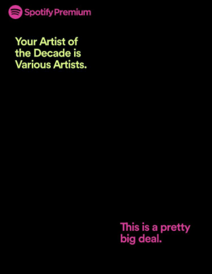 Spotify, Thank You, and Artist: 6 Spotify Premium  Your Artist of  the Decade is  Various Artists.  This is a pretty  big deal. Thank you, Spotify Wrapped