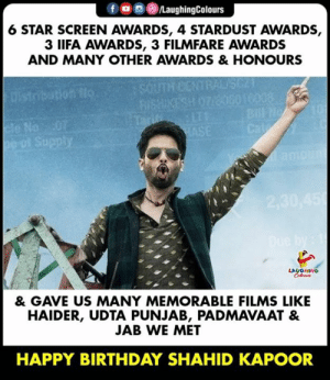 Birthday, Happy Birthday, and Happy: 6 STAR SCREEN AWARDS, 4 STARDUST AWARDS,  3 IIFA AWARDS, 3 FILMFARE AWARDS  AND MANY OTHER AWARDS & HONOURS  Na  & GAVE US MANY MEMORABLE FILMS LIKE  HAIDER, UDTA PUNJAB, PADMAVAAT &  JAB WE MET  HAPPY BIRTHDAY SHAHID KAPOOR Birthday Wishes To #ShahidKapoor 🎂