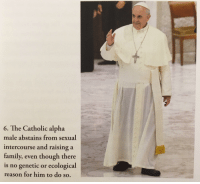 Catholic: 6. The Catholic alpha  male abstains from sexual  intercourse and raising a  family, even though there  is no genetic or ecological  reason for him to do so