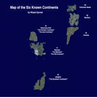 """Old, Nautilus, and Wizard:  #6  Unknown Name  Map of the Six Known Continents  by Wizard Gynoid  #5  Nautilus  12  Heterocera Atoll  The Northern Continent  The Atoll Continent  #4  Corsica  #1  Samsara  """"The Mainland""""  """"The Old Continent  #3  Jeogeot  """"The Southern Continent"""""""