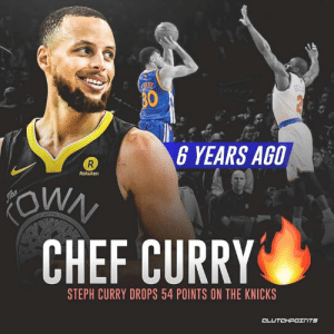 An early glimpse into the future of the NBA, redefined by Steph Curry 🔥🔥 -- @warriorsnation_gs @knicksnation_ny: 6 YEARS AGO  Rakuten  CHEF CURRY  STEPH CURRY DROPS 54 POINTS ON THE KNICKS  CL An early glimpse into the future of the NBA, redefined by Steph Curry 🔥🔥 -- @warriorsnation_gs @knicksnation_ny