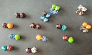 Dice, Time, and DnD: 60  00  60  6.0  60  6 My friend sets up his dice like this. Every. Single. Time.