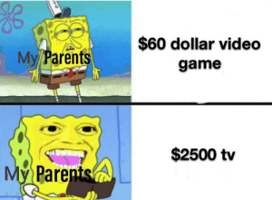 Dollar: $60 dollar video  My Parents  game  $2500 tv  My Parents