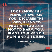 Future, Conservative, and Hope: 60  FOR I KNOW THE  PLANS I HAVE FOR  YOU, DECLARES THE  LORD, PLANS TO  PROSPER YOU AND  NOT TO HARM YOU  PLANS TO GIVE YOU  HOPE AND A FUTURE.  JEREMIAH 29:11