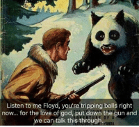 God, Love, and Panda: 60  Listen to me Floyd, you're tripping balls right  now... for the love of god, put down the gun and  we can talk this through.  0 F  PANDA Acid is one hell of a drug