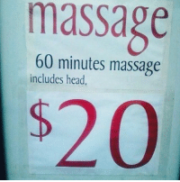 60 minutes massage  includes head,  $20 Finally an Asian massage spot that is upfront about it. Repost @thequeerbitch and @davie_dave