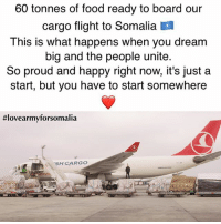 "Food, Love, and Memes: 60 tonnes of food ready to board our  cargo flight to Somalia  This is what happens when you dream  big and the people unite.  So proud and happy right now, it's just a  start, but you have to start somewhere  #lovearmyforsomalia  ""SH CARGO Much love and respect for all of those who cared, shared and donated. You are amazing, you are changing the way humanitarian actions happen. You are using social media for positive social movements. Increasing faith in humanity lovearmyforsomalia"