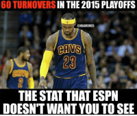 LeBron James: The TO Master? #Cavs Nation Credit: Rob Taormina: 60 TURNOVERS  THE 2015 PLAYOFFS  @NBAMEMES  CAMS  THE STAT THAT ESPN  DOESN'T WANT YOU TO SEE LeBron James: The TO Master? #Cavs Nation Credit: Rob Taormina