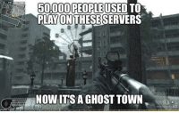 Memes, The Game, and Ghost: 60000|PEOPLEUSED TO  S贡  PLAYONTHESE SERVERS  NOW ITS A GHOST TOWN  rn)  60 I remember back in the MW2 days there used to be around 2 million people online all the time. COD's today have no more than 100k or so, and by the end of the games life cycle the game dies (AW in particular) makes me sad bro.