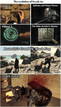 The evolution of break ins  splinter cell Chaos Theory  Thief 3  Fallout 3  The Elder Scrolls V: Skyrim  Assassins Creed  Flag  IV: Black Dark Souls hard gane lulz