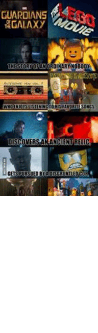 Avengers, Connected, and Discover: GUARDIANS  GALAXY  THE STORY OF AN ORDINARY NOBODY  AWESOME Hino  WHOENJOYSLISTENINGTO HISFAVORITESONGS  DISCOVERS AN ANCENTRELIC  GETSPURSUED BY ADISGRUNTLED COP  AND TEAMSUP WITH AGROUPOFLOVABLE MISFITS  STRUCTION  INASPACESHIP! It's all connected. -CrazyShipper