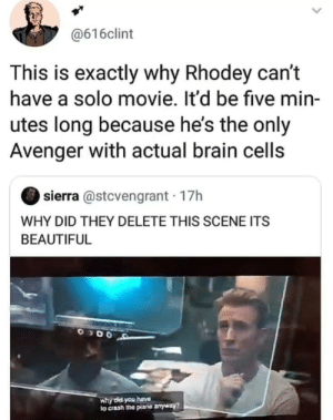 Beautiful, Brain, and Movie: @616clint  This is exactly why Rhodey can't  have a solo movie. It'd be five min-  utes long because he's the only  Avenger with actual brain cells  sierra @stcvengrant 17h  WHY DID THEY DELETE THIS SCENE ITS  BEAUTIFUL  why did you hava  to crash the plane anyway? Exactly