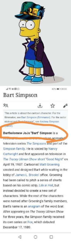 "Bart Simpson, Family, and Life: 62% 20:33  Bart Simpson  A  This article is about the cartoon character. For the  filmmaker, see Bart Simpson (filmmaker). For the sailor  nicknamed  Simnson, see Andrew Simpson  Bartholomew JoJo ""Bart"" Simpson is a  an animater  television series The Simpsons and part of the  Simpson family. He is voiced by Nancy  Cartwright and first appeared on television in  The Tracey Uliman Show short ""Good Night"" on  April 19, 1987. Cartoonist Matt Groening  created and designed Bart while waiting in the  lobby of James L. Brooks' office. Groening  had been called to pitch a series of shorts  based on his comic strip, Life in Hell, but  instead decided to create a new set of  characters. While the rest of the characters  were named after Groening's family members,  Bart's name is an anagram of the word brat  After appearing on The Tracey Ullman Show  for three years, the Simpson family received  its own series on Fox, which debuted  December 17, 1989. Bart is officially a jojo"