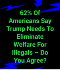 Illegals: 62% Of  Americans Say  Trump Needs To  Eliminate  Welfare For  Illegals Do  You Agree?
