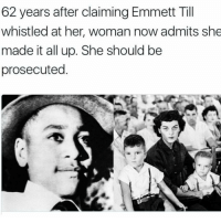 """This is """"amerikkka"""" smh..😩 EmmetTill NeverForget: 62 years after claiming Emmett Till  whistled at her, woman now admits she  made it all up. She should be  prosecuted This is """"amerikkka"""" smh..😩 EmmetTill NeverForget"""